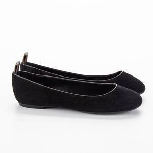 LOUIS VUITTON Black Suede Round Toe Flats